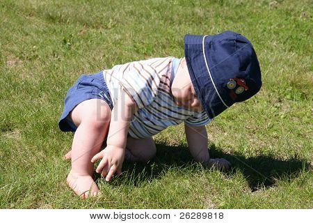 Little Boy picking at the grass