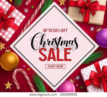 Christmas Sale Vector Banner Design With Sale Discount Text In White Space And Colorful Christmas El