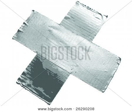 Duct tape in the form of a x and isolated on white background (vector)