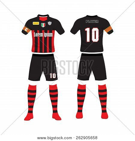 Uniform Of Football Design. Shirt Of Soccer Football. Football T-shirt. Front And Back Soccer Footba