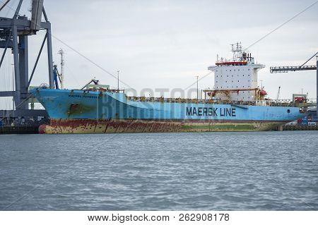 Rotterdam, The Netherlands - September 5, 2017: Maersk Ship Pembroke In Rotterdam Harbor. Maersk Pem