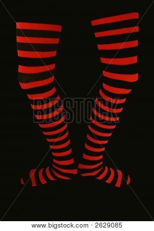 Thigh High Striped Stockings On Black