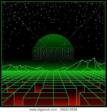Futuristic Retro Landscape Of The 80`s. Vector Futuristic Illustration Of Sun With Mountains In Retr
