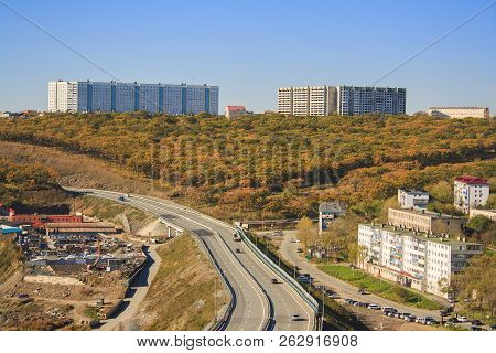 Autumn Landscape Of Vladivostok. Russia. Nature And See.