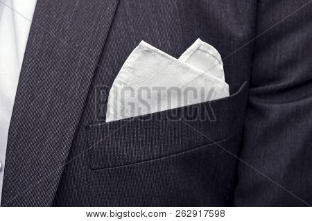 View To The Male Coat Pocket With A Fixed White Square. Mens Suit Accessories. Wedding Male Guests A