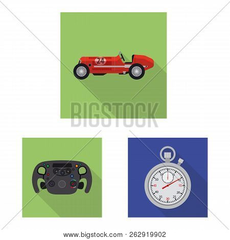 Vector Illustration Of Car And Rally Logo. Collection Of Car And Race Vector Icon For Stock.