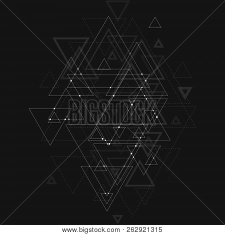 Abstract Polygonal Low Poly Vector Background With Blue Triangles, Connecting Dots And Lines. Connec