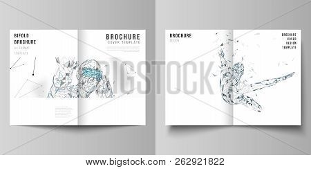 The Vector Layout Of Two A4 Format Cover Mockups Design Templates For Bifold Brochure, Magazine, Fly