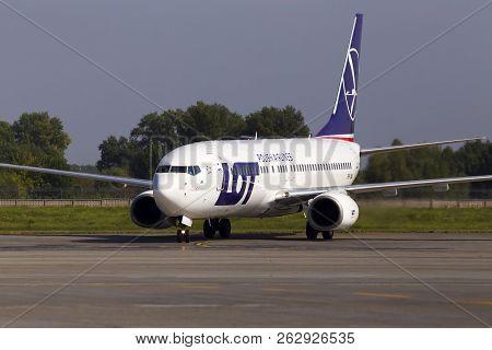 Borispol, Ukraine - September 03, 2018: Sp-lwa Lot - Polish Airlines Boeing 737-800 Aircraft Running