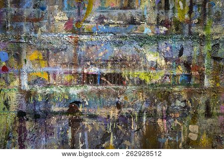 Creative Coloured Brick Wall Painted Brightly. An Abstract Background Wall Covered With Different Co