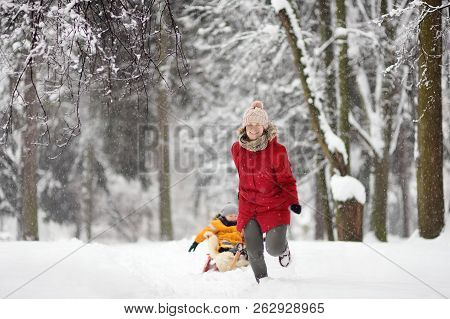Little Boy Enjoying A Sleigh Ride. Mother/nanny Sled His Cute Child. Family Winter Activities Outdoo
