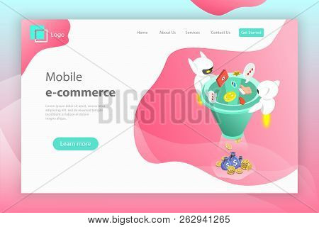Flat Isometric Vector Landing Page Header Of Chatbot Sales Funnel.