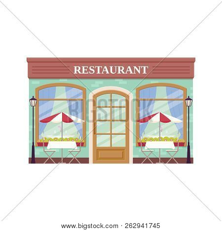 Restaurant Facade, Storefront. Vector. Outdoor Cafe Shop. Vintage Store Front, Coffee House. Retail