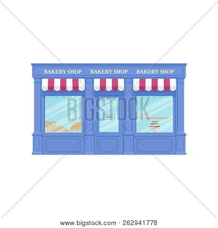 Bakery Shop, Storefront. Vector. Vintage Store Front. Facade Retail Building With Window. Exterior H