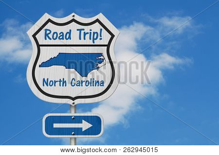 North Carolina Road Trip Highway Sign, North Carolina Map And Text Road Trip On A Highway Sign With