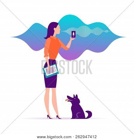 Vector Flat Personal Online Assistant Illustration. Office Girl With Smartphone Microphone Dynamic I