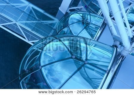 Capsules of the London Eye in blue tone