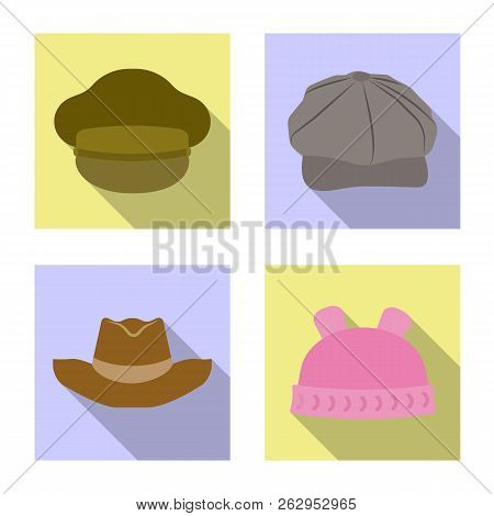 Vector Illustration Of Headgear And Cap Logo. Collection Of Headgear And Accessory Stock Vector Illu