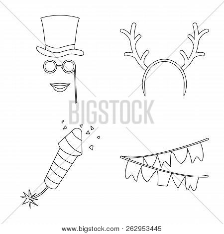 Vector Illustration Of Party And Birthday Symbol. Collection Of Party And Celebration Stock Symbol F
