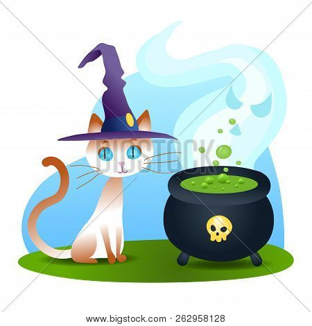 4a7962f6 Halloween white cat in witch hat sitting with fuming potion cauldron.  Vector animal isolated on white background.