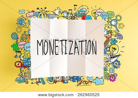 Monetization text with colorful illustrations on a yellow background poster