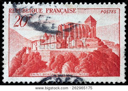 Luga, Russia - September 12, 2018: A Stamp Printed By France Shows Saint-bertrand-de-comminges Cathe