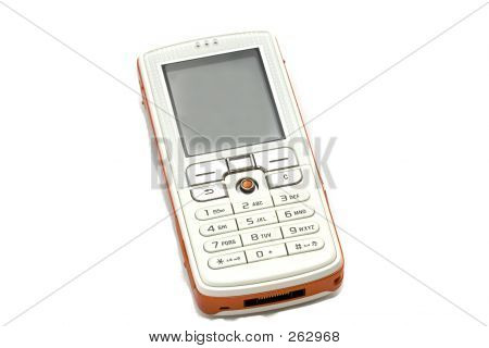 isolated cell phone, with free space on the lcd to insert text poster