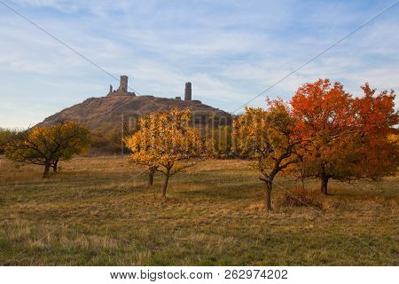 Famous Hazmburk Castle At Sunset.central Bohemian Uplands,czech Republic. At The Top Of The Mountain