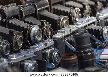 Tbilisi, Georgia, 01.09.2018: Old Cameras Are Sold On The Market In Tbilisi
