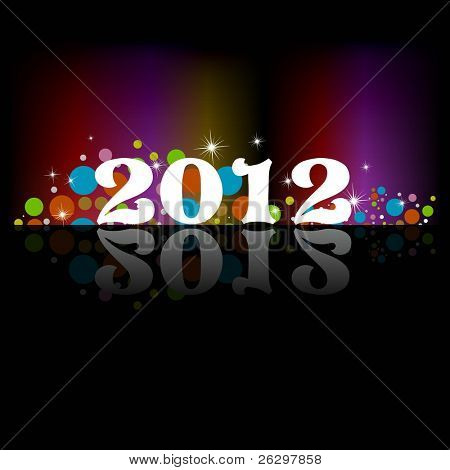 Fundo de celebração de ano novo de 2012 para capa, cartaz & temp permite em cores do arco-íris, estrelas, colorfu