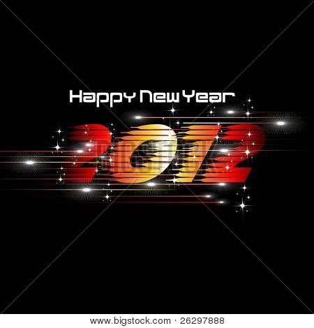 New Year 2012 Abstract illustration with lights and dark stars & shine text in black background.