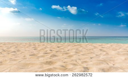 Perfect Beach Landscape, Empty Tropical Beach With Soft Sand, Blue Sky And Endless Sea View. Inspira