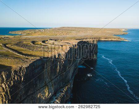 Aerial View Of Dun Aonghasa Fort Of Inishmore On The Aran Islands