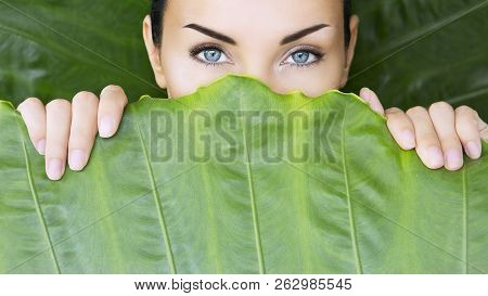 Beautiful Woman And Tropical Leaves.