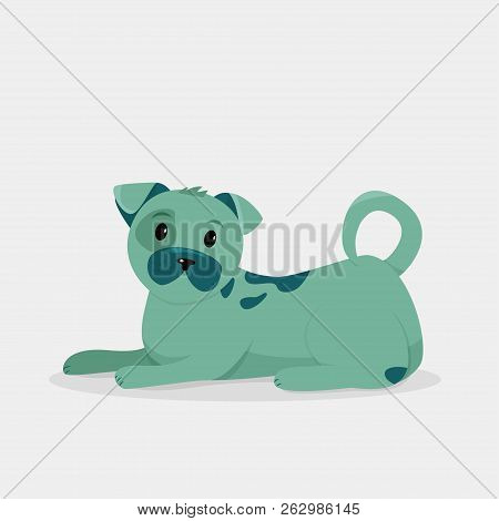 Cute Simple Green Dog Isolated On Grey Background. Vector Illustration.