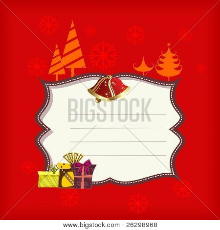 Abstract white color Christmas frame heaving gift boxes, jingle  bells & Xmas trees in red  background for Christmas & other occasions.