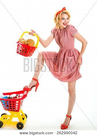 What Do You Think About This One. Happy Retro Woman Go Shopping. After Day Shopping. Vintage Woman G