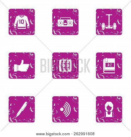 Sport Task Icons Set. Grunge Set Of 9 Sport Task Icons For Web Isolated On White Background