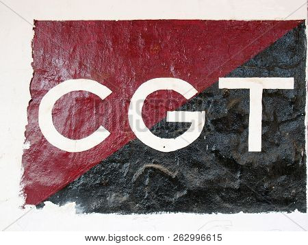 Ciutadela, Menorca , Spain - October 1 2018: The Benner Of The Cgt Trade Union Painted On The Wall O