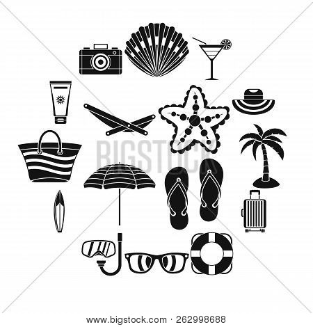 Summer Rest Icons Set. Simple Illustration Of 16 Summer Rest Icons For Web