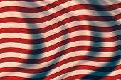 USA vintage patriotic background with waves and cloth texture poster