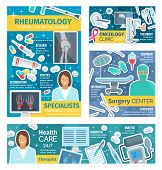 Rheumatology medical center, oncology clinic and surgery therapy medicine. Vector oncologist, surgeon or rheumatologist doctors with healthcare and treatment, syringe, scalpel or crutches and X-ray poster
