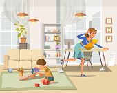 Working Mother Concept. Busy Mom with Children. Mother Working at Home. Super Mom Multitasking Woman. Mommy Businesswoman with Infant in Room. Vector Flat Cartoon Illustration. poster