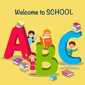 Study at School. Children Font in Cartoon style. Schoolchildren learn Alphabet. Colored Letters and Schoolchildren with Books. Funny ABC and Schooling Concept. Vector Flat Illustration. poster