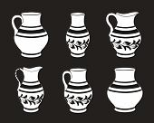 Set of ceramic crockery in black and white colors. Collection jugs in different variation. Rustic ceramic utensils, monochrome vector illustration for your design. Horizontal location. poster