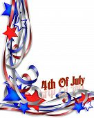 3D Illustrated stars and ribbons for patriotic 4th of July background border or corner design poster