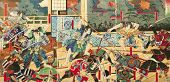 Samurai battle on old vintage Japanese Traditional paintings poster