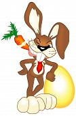 Illustrated easter bunny. Image contains clipping path for easier cropping. poster