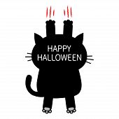 Happy Halloween. Cartoon black cat scratching. Back view. Red bloody claws animal scratch scrape track. Cute funny character. White background. Isolated. Flat design. Vector illustration poster
