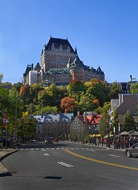Quebec City, Que/canada-october 1 2018: Street With Autumn Trees And Fairmont Le Château Frontenac H